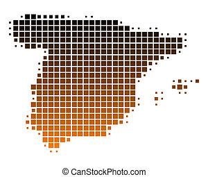 mapa, de, espanha