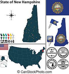 mapa, de, estado, new hampshire, estados unidos de américa