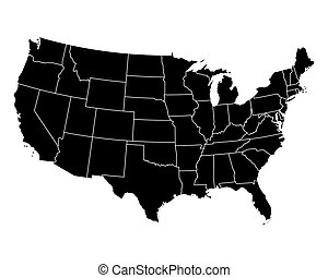 mapa, de, estados unidos de américa