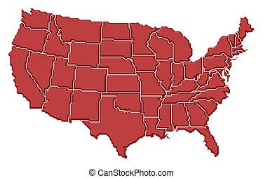 mapa, de, estados unidos