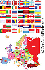 mapa, de, europa, com, país, bandeiras
