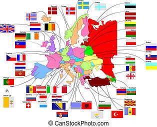 mapa, de, europa, con, país, banderas