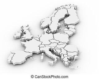 mapa, de, europa