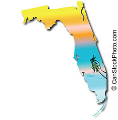 mapa, de, flórida