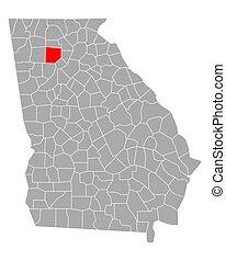 mapa de georgia, cherokee