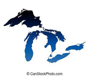 mapa, de, great lakes