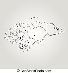 mapa, de, honduras