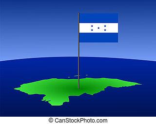 mapa, de, honduras, con, bandera