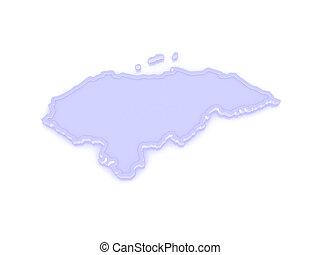 mapa, de, honduras.