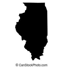 mapa de illinois, estado, u..s..