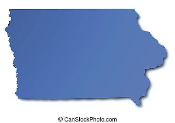 mapa de iowa, -, estados unidos de américa