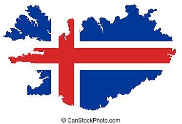 mapa, de, islandia, con, bandera
