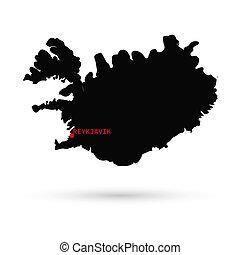 mapa, de, islandia, negro, blanco, fondo.