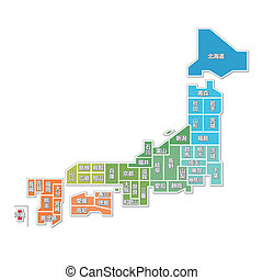 mapa, de, japão