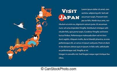 mapa, de, japón, horizontal, artículo, disposición, vector, ilustración