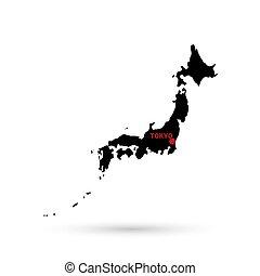 mapa, de, japón negro, blanco, fondo.