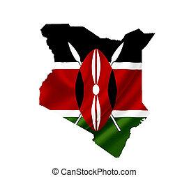 mapa, de, kenia, con, bandera ondeante, aislado, blanco
