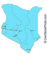 mapa, de, kenia