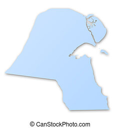 mapa, de, kuwait