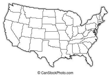 mapa, de, los estados unidos