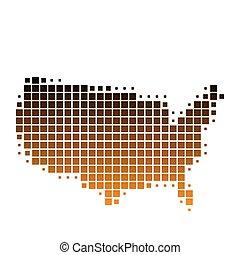 mapa, de, los estados unidos de américa