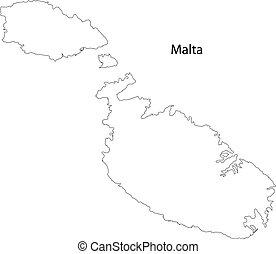 mapa, de, malta