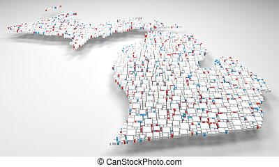 Mapa Michigan Estados Unidos De América Ilustración De - Mapa de michigan