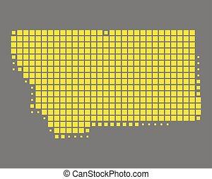 mapa, de, montana