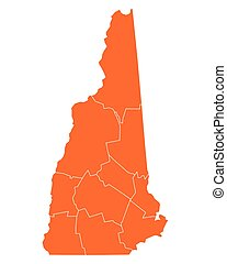 mapa, de, new hampshire