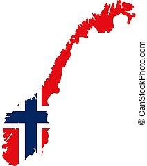 mapa, de, noruega, con, bandera