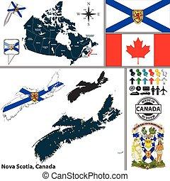 mapa, de, nueva escocia, canadá