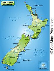mapa, de, nueva zelandia