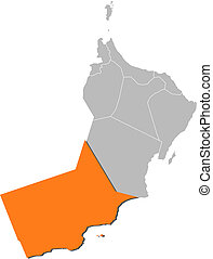 mapa, de, oman, dhofar, destacado