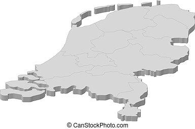 mapa, de, países bajos