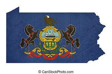 mapa de pennsylvania, bandera, grunge, estado