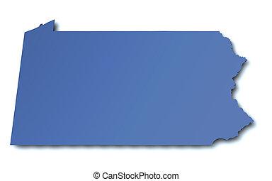 mapa de pennsylvania, -, estados unidos de américa