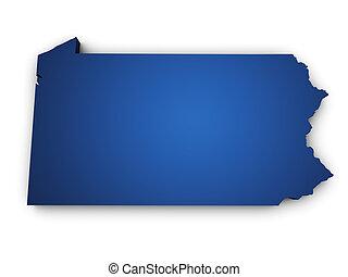 mapa de pennsylvania, forma, estado, 3d