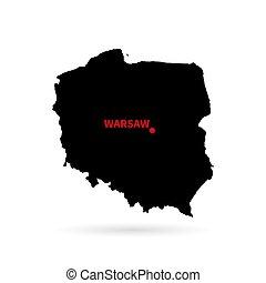 mapa, de, polaco, negro, blanco, fondo.