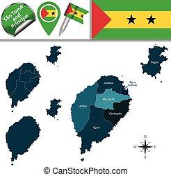 mapa, de, são tomé e príncipe, com, nomeado, distritos
