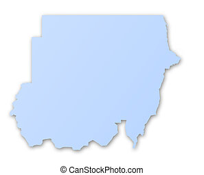 mapa, de, sudán