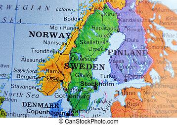mapa, de, suecia