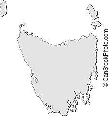 mapa, de, tasmania, (australia)