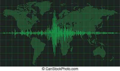 mapa, de, tierra de planeta, con, sísmico, diagrama, verde, matriz, color