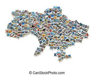 mapa, de, ukraine-collage, viagem, foto