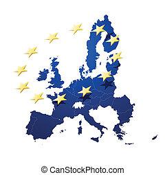 mapa, de, união européia
