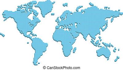 mapa del mundo, compuesto, de, 3d, pilares