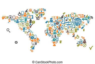 mapa del mundo, compuesto, de, social, iconos de la tela, y, dispositivo