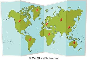 mapa del mundo, con, alfileres