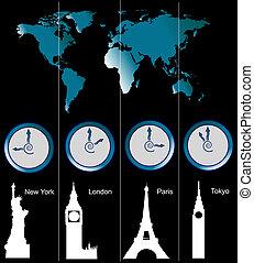 mapa del mundo, con, clocks