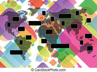 mapa del mundo, con, colorido, discurso, burbujas, concepto, ilustración, plano de fondo, vector